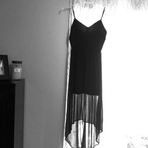 Dresses & Skirts - Black, hi-low dress with sheer overlay, size M.